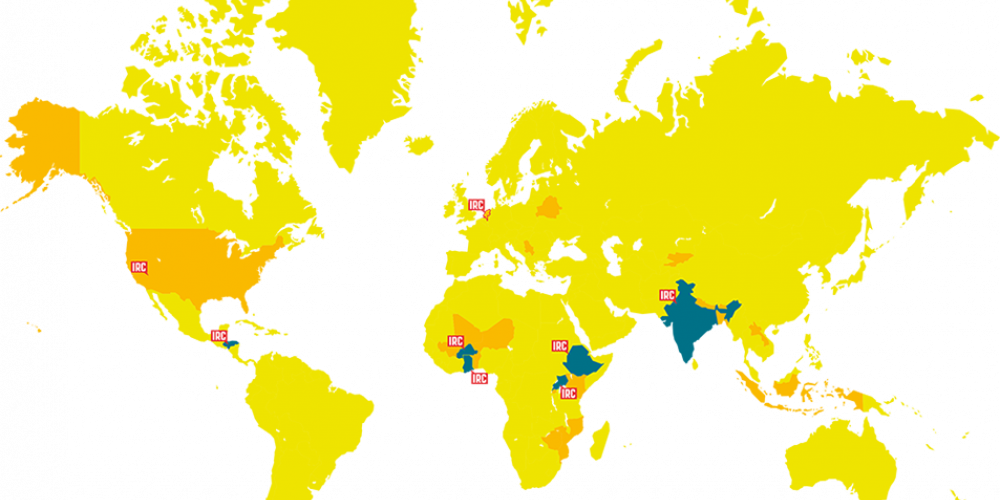 World map showing where IRC is active in 26 countries