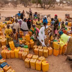 Queuing for water in Sahel Region of Burkina Faso