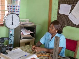 Vivian Kumah, lead nurse at the community health planning and service centre at Gambia No 1