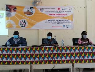 Delegates at the table during the handing over of materials against COVID-19 ceremony in Banfora, Burkina Faso