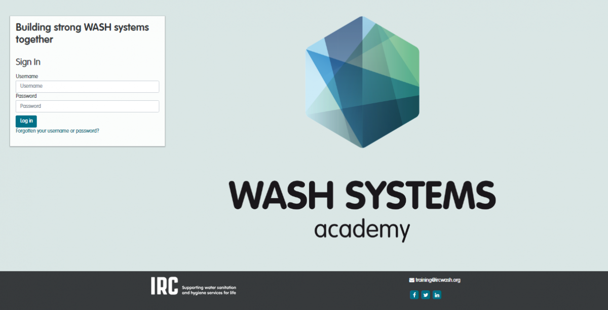 Screenshot of the WASH Systems Academy online course